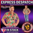FANCY DRESS COSTUME MENS 1980'S MAGNUM HAWAIIAN SHIRT MED